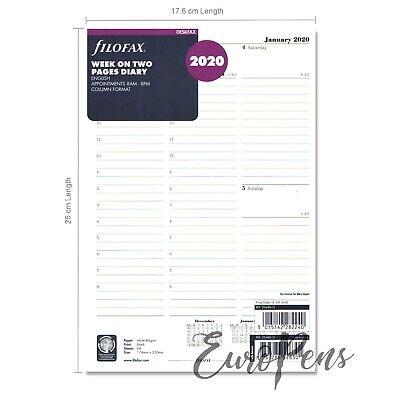 Filofax 2019-2020 Deskfax Size Diary - Week On Two Pages Insert 68612
