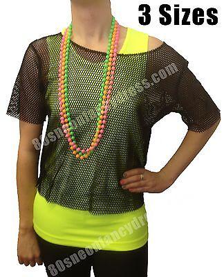 Fancy Dress Sale (80s Fancy Dress String Mesh Net Vest Top Black or Neon Pink M-XXL - SALE 10% OFF)