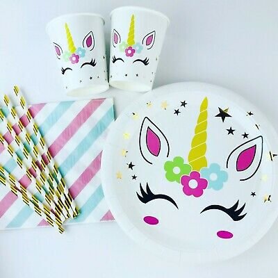 Unicorn Birthday Party Supplies Pack Girls Plates Cups Napkins Gold Star 90pc - Gold Party Cups