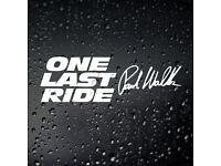 2x Ride or Die Fast And Furious Dominic Paul Walker Street Racing Vinyl Sticker
