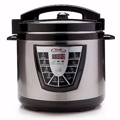6 Qt. | Power Pressure Cooker XL Stainless Steel w/ Timer 1000W - NEW