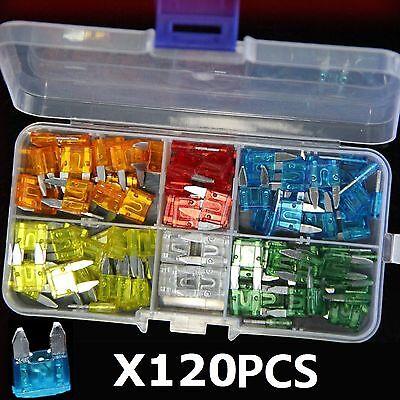 120Pc Mini Auto Blade Fuses Assorted Car Van Bike Fuse Set 5 10 15 20 25 30 Amp