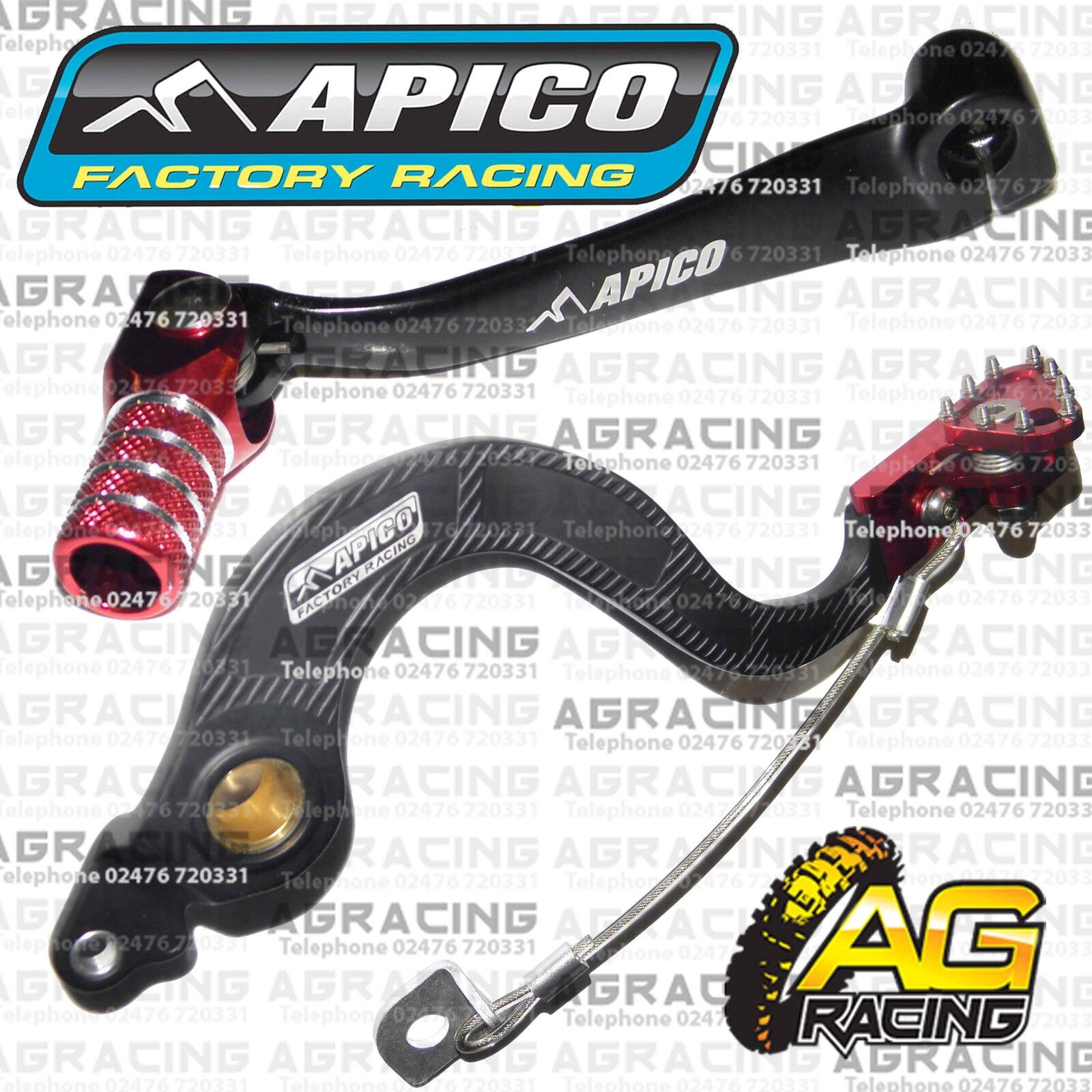 Apico Black Red Rear Brake Pedal Lever For Honda CRF 250R 2010 Motocross Enduro
