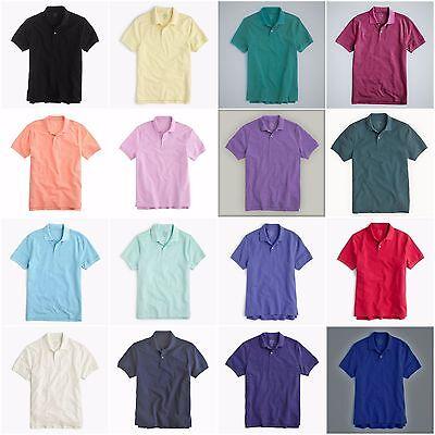 New J.Crew Mens Classic Pique Knit 2-Button Polo Shirt All Colors & Sizes (2 Button Polo Shirt)