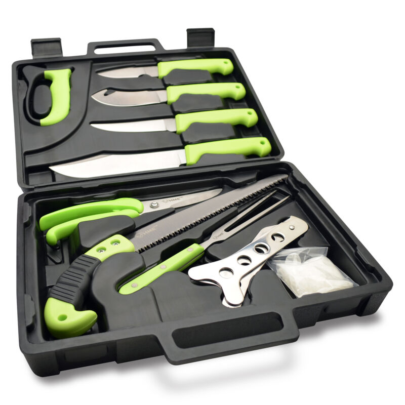 HME 12 Piece Deluxe Hunting/Fishing Field Dressing Kit w/ Convenient Carry Case