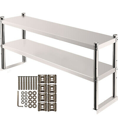 Vevor Stainless Steel Commercial Wide Double Overshelf 12x36 For Prep Table