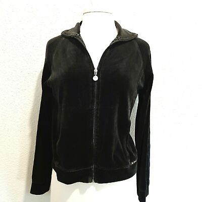 NY Laundry Size Med Black Velour Zip Up Hoodie Women