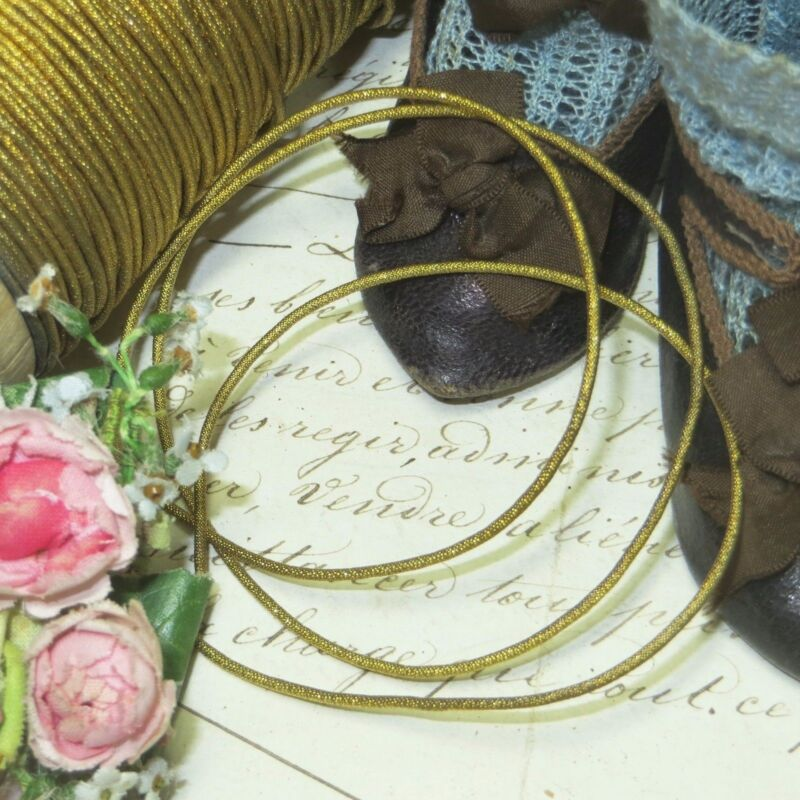 ANTIQUE FRENCH GOLD TWIST METAL THREAD BULLION TRIM RIBBON VESTMENT DOLL DRESS