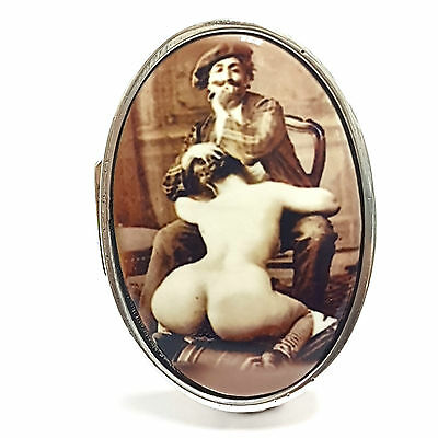 OVAL ENAMEL EROTIC 'THE ARTIST' PILL BOX 925 STERLING SILVER