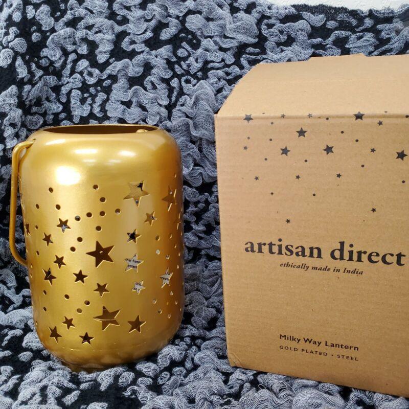 Artisan Direct Milky Way Star Lantern Gold NEW IN BOX w/ 2 tea lights