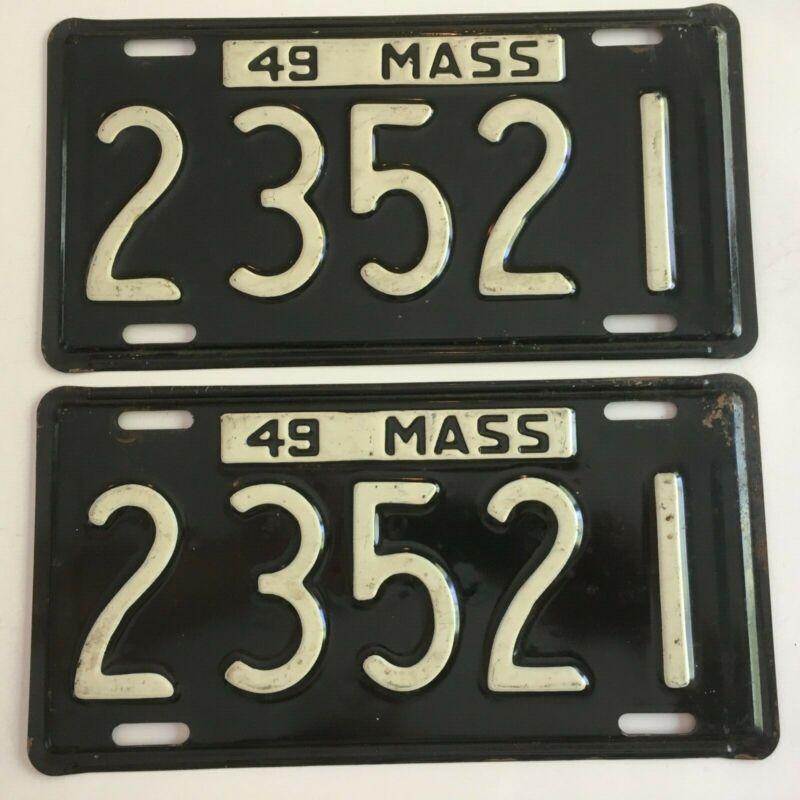 1949 Massachusetts License Plate PAIR Plates Chevrolet Mercury Buick Ford Dodge