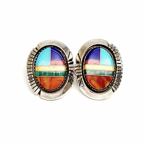 Native Amer Irv Monte Sterling Silver Multi-Stone Channel Inlay Earrings #7998