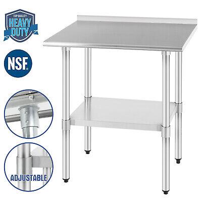 Commercial Food Prep Work Table Kitchen Wbacksplash 24x30 Stainless Steel Nsf