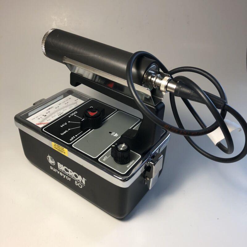 Bicron Surveyor 50 Geiger Counter With Radiation Detection Probe