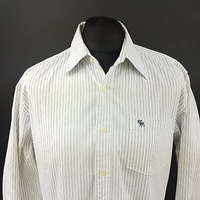 Abercrombie & Fitch Mens Shirt XL Long Sleeve White MUSCLE FIT Striped Cotton