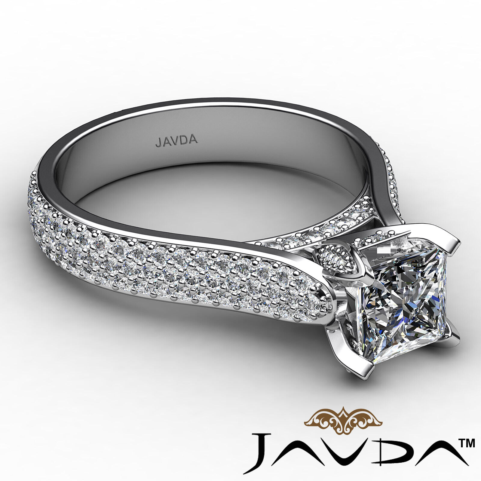 Princess Diamond Engagement Micro Pave Ring GIA E Color & SI1 clarity 1.95 ctw 6