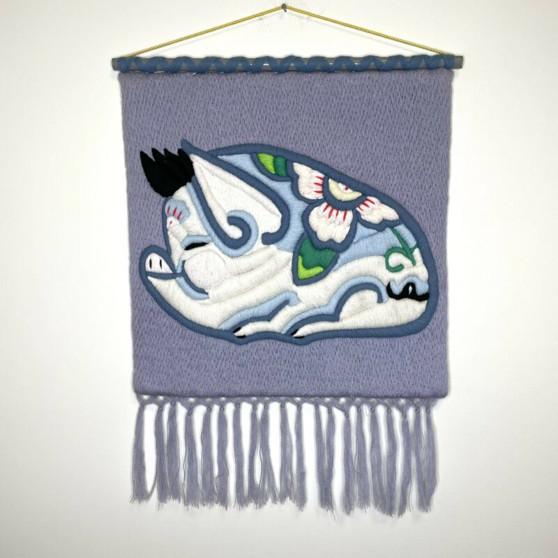 Vintage Chinese Zodiac Pig Hand Embroidered Relief Wall Hanging 3D Lavender