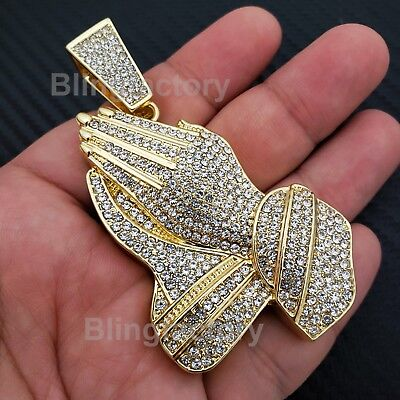 - HIP HOP ICED GOLD PLATED BLING LAB DIAMOND LARGE PRAYING HANDS BUST DOWN PENDANT