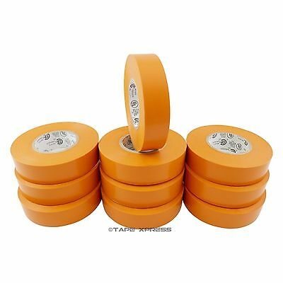 10 Rolls Orange Vinyl Pvc Electrical Tape 34 X 66 Adhesive Free Shipping