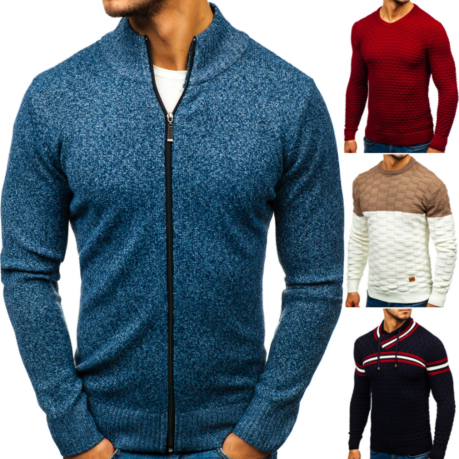 BOLF Strickjacke Strickpullover Pulli Sweater Cardigan Herren Mix 5E5 Motiv WOW