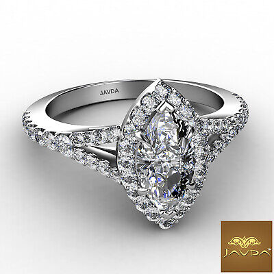 Beautiful Marquise Diamond Halo Pave Set Engagement Ring GIA F VVS2 Platinum 1Ct 1