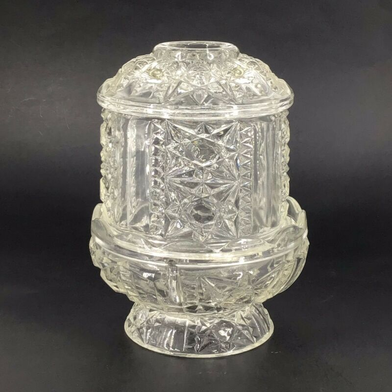 Indiana Clear Glass Stars Bars Pattern Fairy Lamp Vtg Candle Votive Tea Light