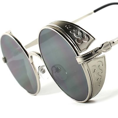 Funky Vampire Goth Steampunk Costume Party Silver Round Side Shield Sunglasses (Steampunk Vampire Costume)