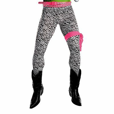 (Adult Mens Spandex 1980s 80s Band Glam Rock Star Zebra Print Trousers Darkness)
