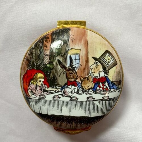 CRUMMLES ALICE IN WONDERLAND TEA PARTY ENGLISH ENAMEL TRINKET BOX