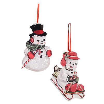 Set/2 Bethany Lowe Retro Vntg Style Snowman Christmas Tree Ornaments Home Decor