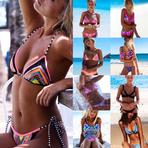 Damen Triangel Bikini Set Push Up Bh Bademode Badeanzug Blumen Strandkleidung DE