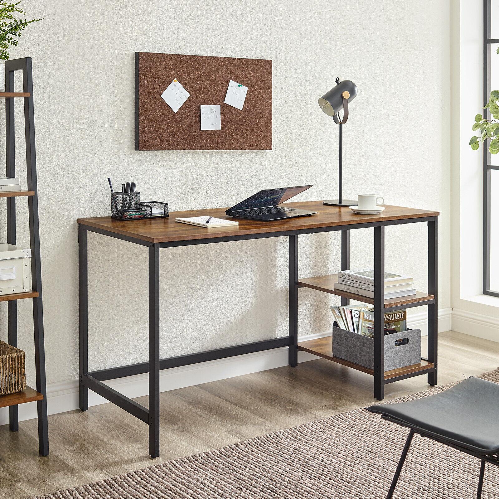 Schreibtisch Computertisch Arbeitstisch 140cm PC-Tisch mit 2 Regalebenen  LWD55X