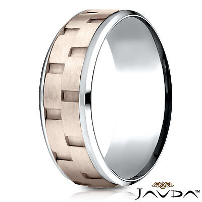 Brick Design Wedding Band Ring (Chain Link Brick Style Design Man Men's 2 Tone Rose Gold Ring 8mm Wedding Band )