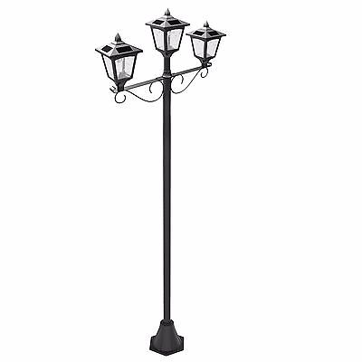"Upgrade 72"" Triple-Head Street Vintage Outdoor Garden Solar Lamp Post Light Lawn"