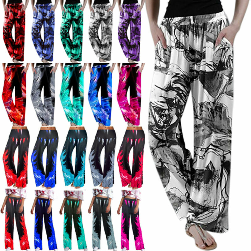 Women Wide Leg Palazzo Trousers Summer Yoga Loose Casual Yoga Pants Plus Size Clothing, Shoes & Accessories