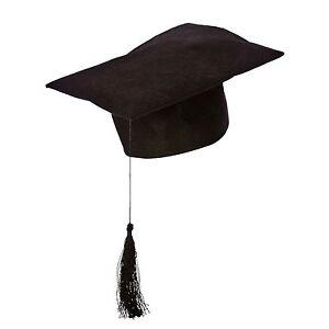 CHEAP BUDGET TEACHER BLACK FELT MORTAR BOARD HAT SCHOOL FANCY DRESS GRADUATION