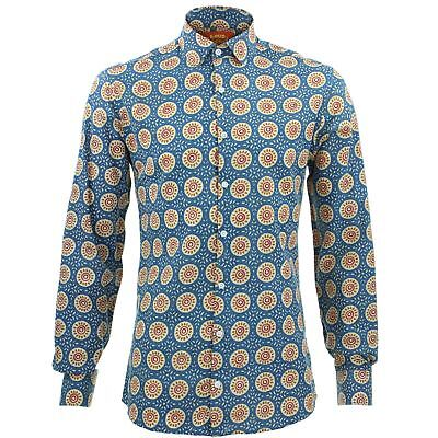 Herren Shirt Loud Originals Enge Passform Sun Blue Retro Psychedelic Kostüm (Sun Kostüme Erwachsene)