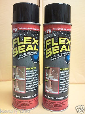 2 JUMBO CANS Flex Seal BLACK 14oz Liquid Spray Rubber Sealant - As seen on TV