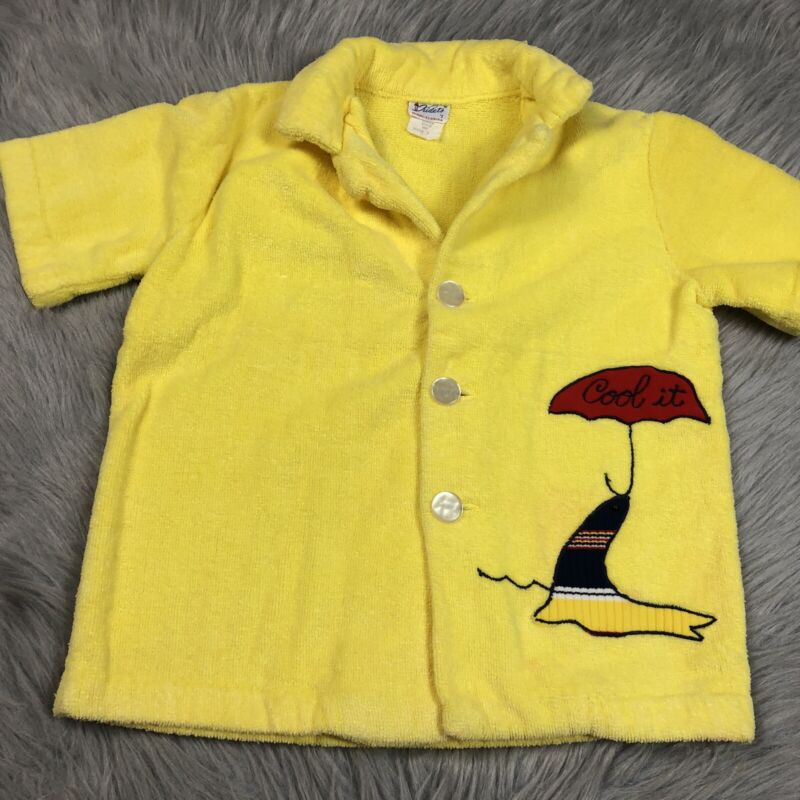 Vintage Boys Yellow Button Up 1950s Beach Cover Up Shirt