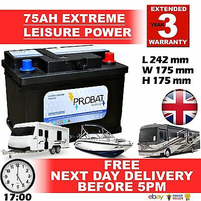 PAIR OF 75 amp ah Leisure Battery BATTERIES DEEP CYCLE maintenance free...