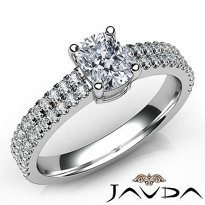 Cushion Diamond U Shape Prong Set Engagement Ring GIA F VVS2 Platinum 950 0.8Ct