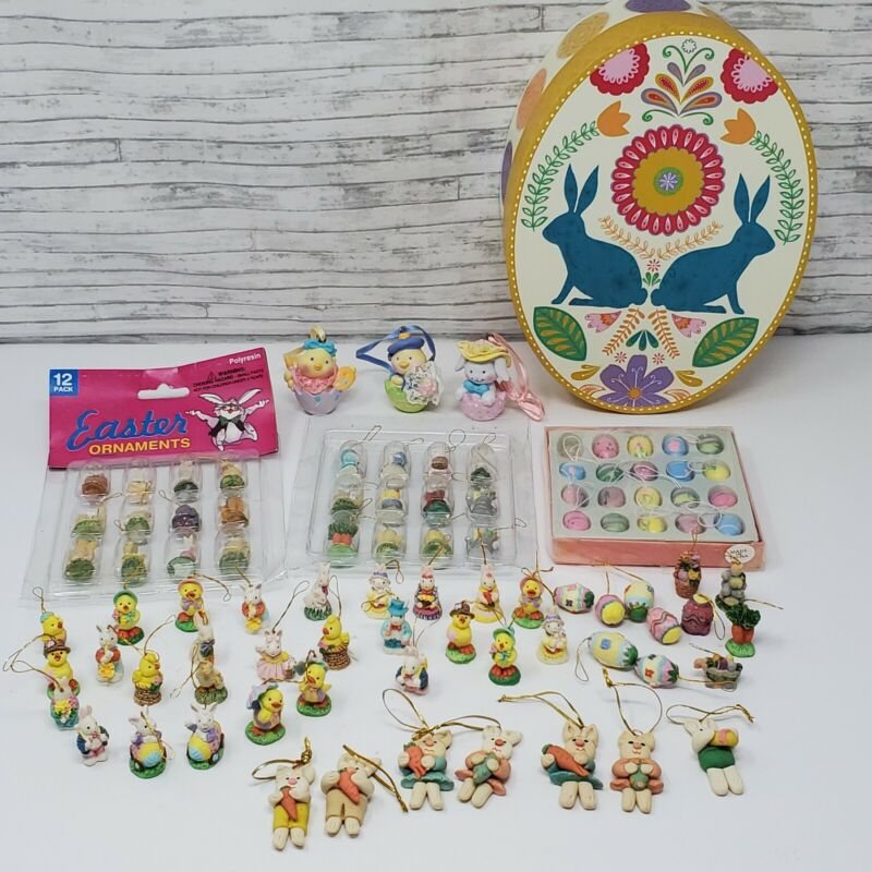 92 pcVintage Wood Hand Painted MINI Easter Figures Ornaments-Chicks,Rabbits,Eggs