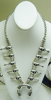 Divine Energy  Sterling Silver Turquoise Squash Blossom Unsigned Necklace N307 D