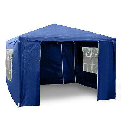3Mx3M Blue Heavy Duty Gazebo Marquee Canopy Waterproof Garden Party Tent w/Sides