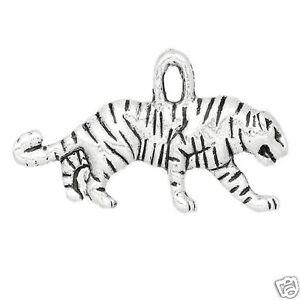 10 x Tibetan Silver 3d Tiger  Pendant Charms