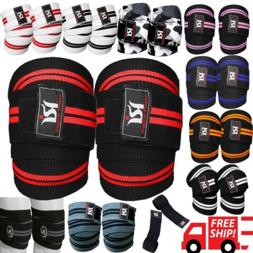 Gym Weight lifting Knee Wraps Bandage Straps Guard Powerlifting Pads Sleeves