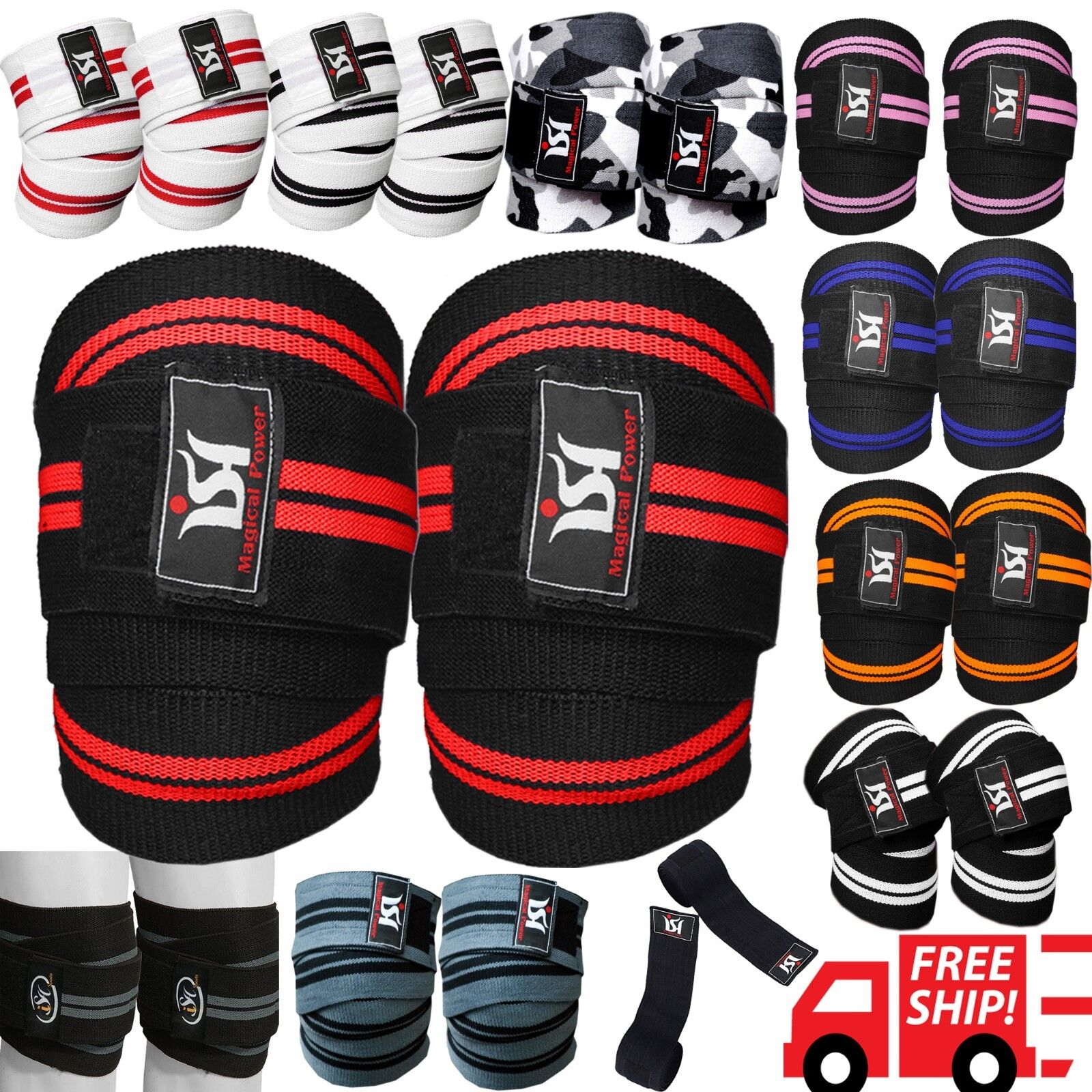 Gym Weight lifting Knee Wraps Bandage Straps Guard Powerlift