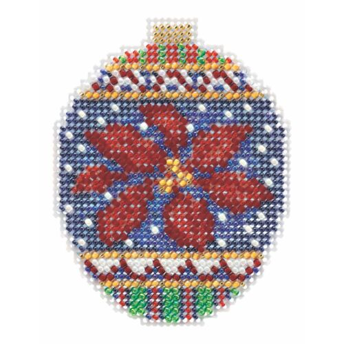 Christmas Poinsettia Cross Stitch Ornament Kit Mill Hill 201