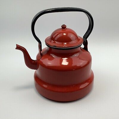 Vintage Red Enamel Stove Top Kettle Teapot Camper Van VW Narrowboat
