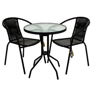 RATTAN 3 PIECE GLASS TABLE SET CAFE BISTRO STACKING CHAIR GARDEN OUTDOOR BLACK